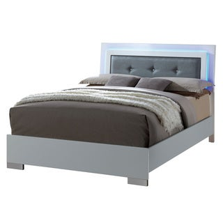 Furniture of America Rema Contemporary White LED Trim Platform Bed