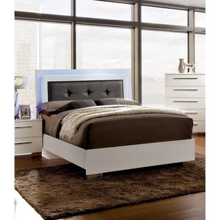Furniture of America Rema Contemporary White Faux Leather Padded Bed