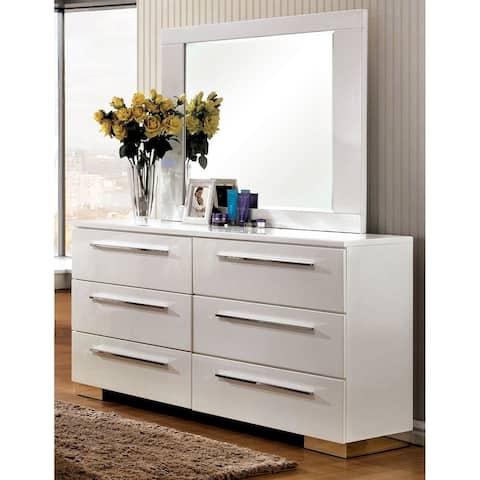 Furniture of America Rema Modern White 2-piece Dresser and Mirror Set