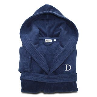 Sweet Kids Turkish Cotton Terry Midnight Blue with White Monogram Hooded Bathrobe|https://ak1.ostkcdn.com/images/products/11441893/P18401997.jpg?impolicy=medium