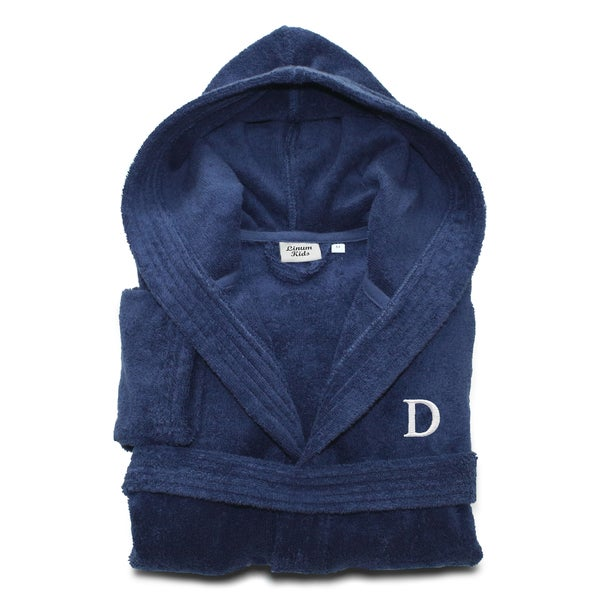 Sweet Kids Turkish Cotton Terry Midnight Blue with White Monogram Hooded  Bathrobe b0da15936