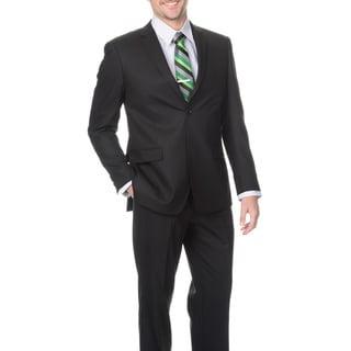 Montefino Slim Men's Black 'Super 120's Merino Wool' Suit in Black (48R/ 43W) (As Is Item)