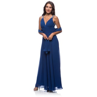 DFI Women's Evening Gown V-Neck Medium Size in Purple (As Is Item)