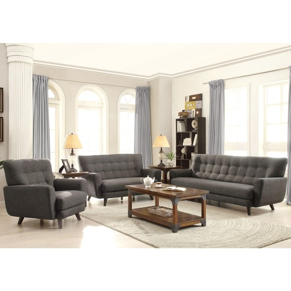 halley engage contemporary mid century charcoal living room set free