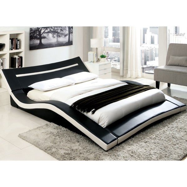 Furniture of America Quip Modern Black Faux Leather Platform Bed