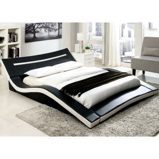 Furniture of America Blaires Modern Two-tone Leatherette Low Profile Bed