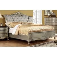 Furniture of America Therese Luxury Silver Button Tufted Bed