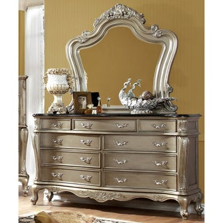 Furniture of America Therese Luxury 2-piece Gold Dresser and Mirror Set