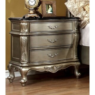 Furniture of America Therese Luxury Silver Marble Top 3-drawer Nightstand