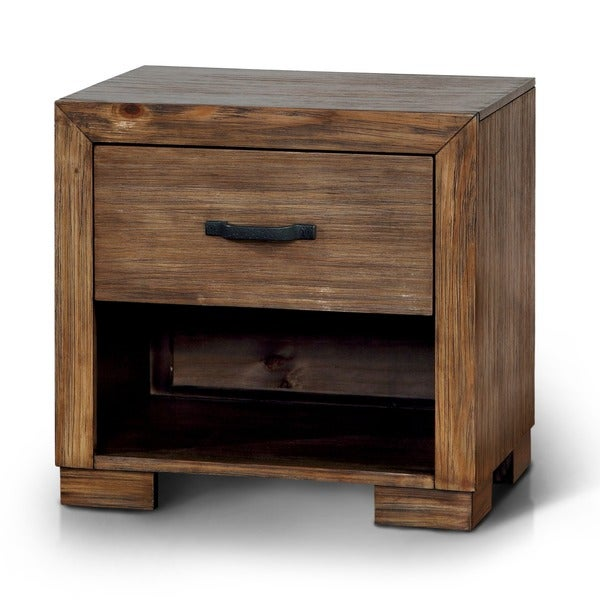 Furniture Of America Marchez Rustic Nightstand With Built In USB/Power  Outlet