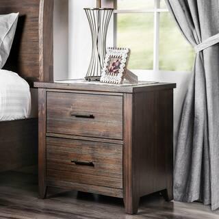 Furniture Of America Rubio Country Style Espresso 2 Drawer Nightstand