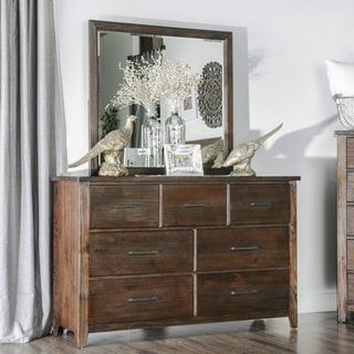 Furniture of America Rubio Country Style 2-piece Espresso Dresser and Mirror Set