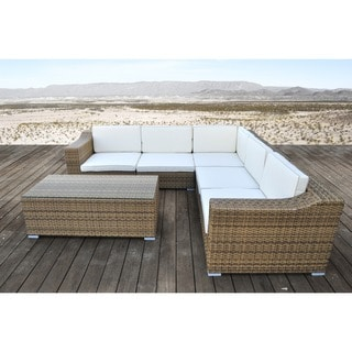 SOLIS San Mateo Sectional Outdoor Deep Seated Light Brown 6-piece Wicker Rattan Patio Set
