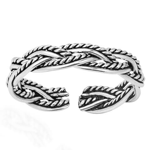 Handmade Celtic Weave Design Sterling Silver Toe or Pinky Ring (Thailand)