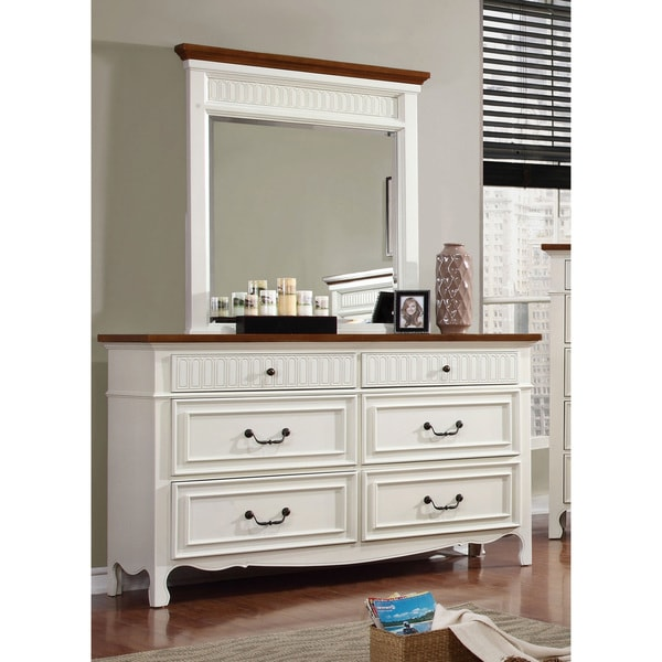 Furniture Of America Ophelie Cottage Style 2 Piece White Dresser And Mirror Set