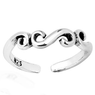Handmade Filigree Swirl Sterling Silver Toe or Pinky Ring (Thailand)