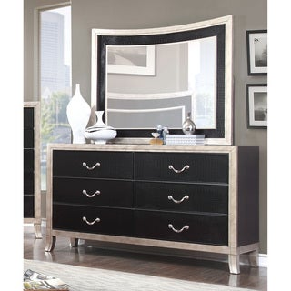 Furniture of America Irvine Contemporary 2-piece Two-Tone Dresser and Mirror Set