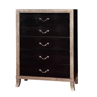Furniture of America Irvine Contemporary Two-Tone Silver/Black 5-drawer Chest