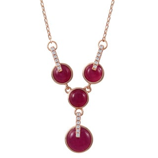 Luxiro Rose Gold Finish Sterling Silver Semi-precious Gemstone Y Necklace