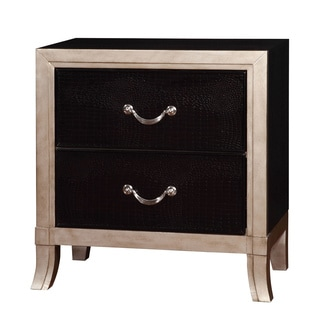 Furniture of America Irvine Contemporary Two-Tone Silver/Black Nightstand