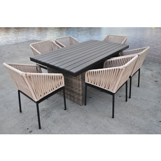 SOLIS Correa Outdoor 7-piece Wood Panels with Wicker Rattan Patio Dining Set