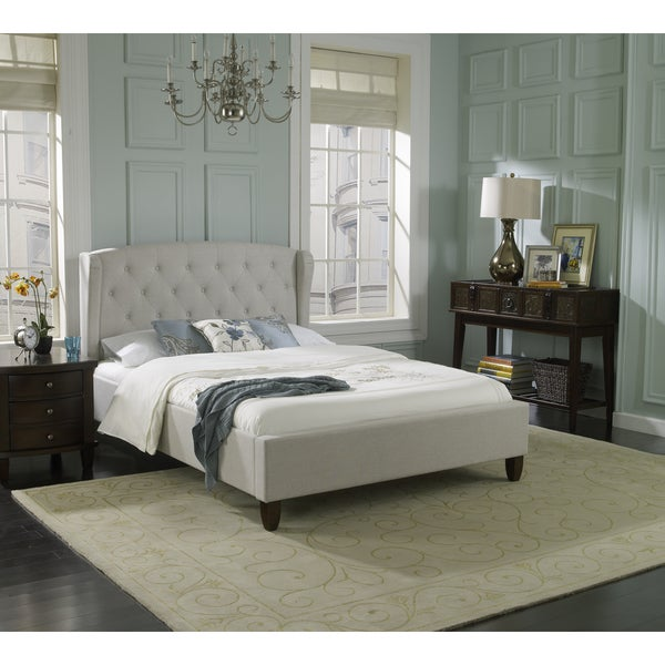 sleep sync redmond uphostered light taupe linen platform slat bed complete