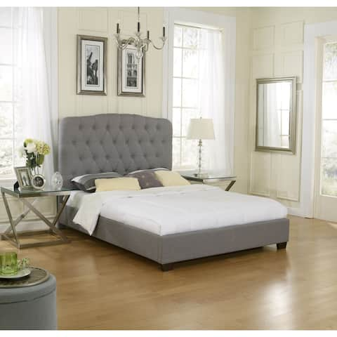 Sleep Sync Oak Harbor Uphostered Medium Grey Linen Platform-Slat Bed Complete