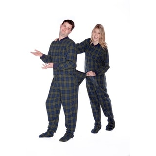 Navy and Green Plaid Cotton Flannel Adult Footed Pajamas with Drop Seat