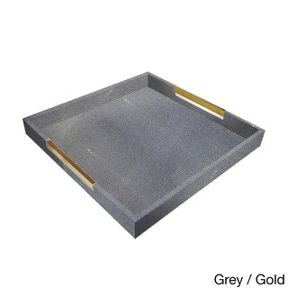 Accents by Jay Square Tray with Handles (Option: Square Tray grey with gold handles)