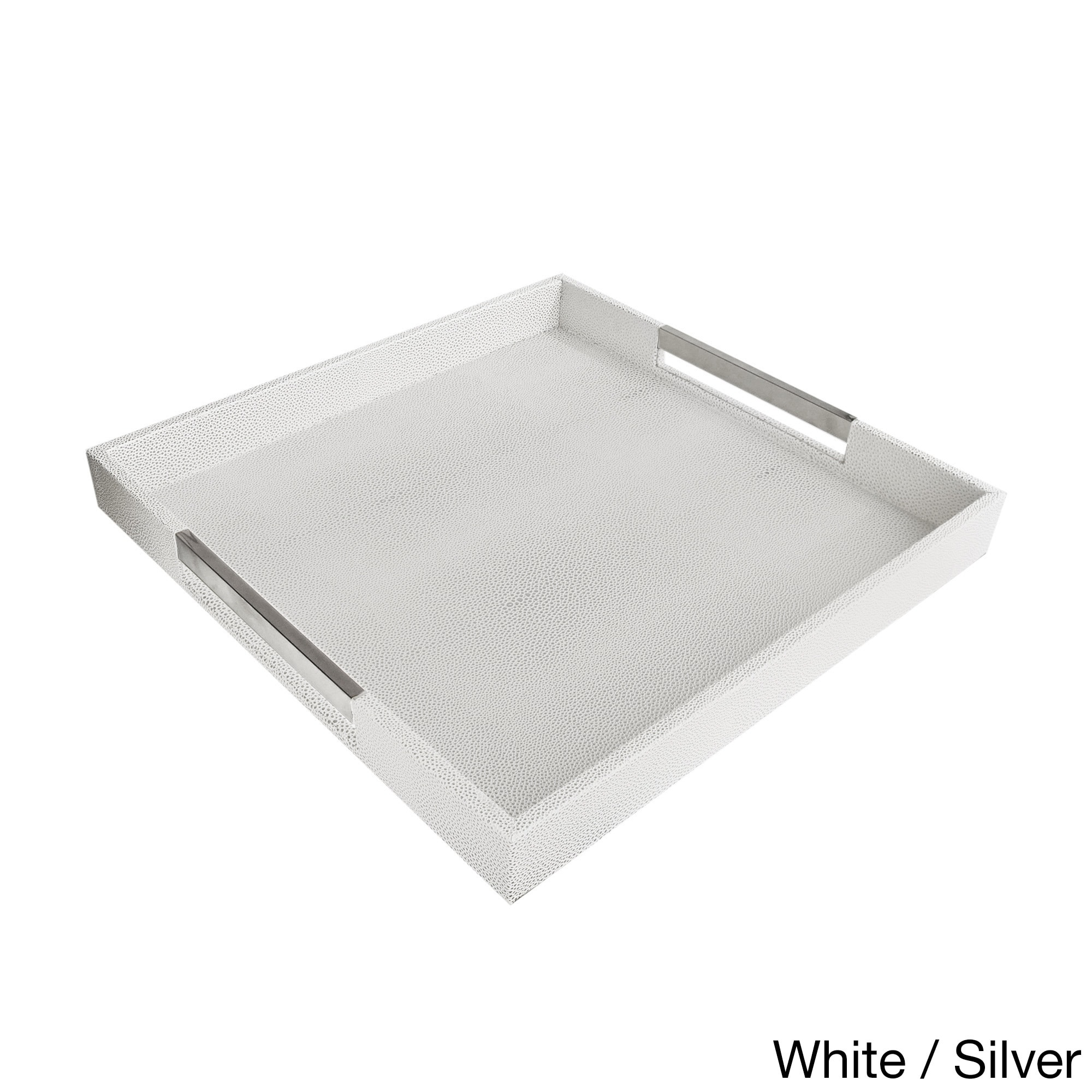 Accents By Jay Square Tray With Handles Overstock 11442119 Square Tray White With Silver Handles