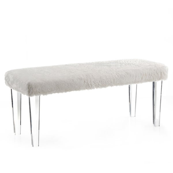 gia faux fur double bench with acrylic legs free shipping today