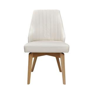 Aurelle Home Arthur Leather Mid Century Modern White Side Chair (Set of 2)