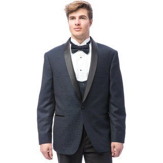Caravelli Men's Blue Satin Shall Lapel Tuxedo with Self Bowtie