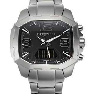 Bernoulli Men's Rigel Stainless Steel Multi-layered Black Dial Analog-Digital Watch