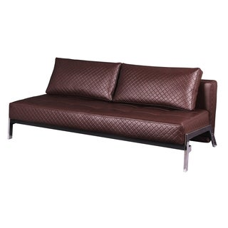 James Antique Brown Quilted Bonded Leather Futon Sleeper