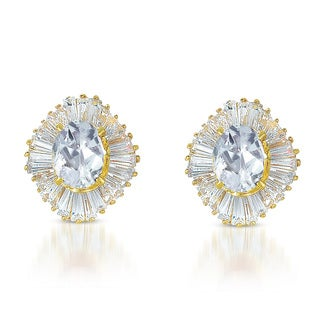 Collette Z Gold Overlay Clear Cubic Zirconia Starburst Earrings