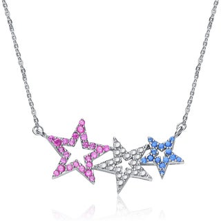 Collette Z Sterling Silver Cubic Zirconia Three Star Necklace