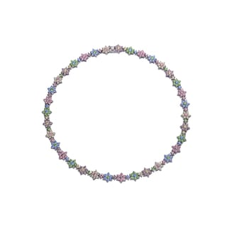 Collette Z Sterling Silver Cubic Zirconia Multicolor Necklace