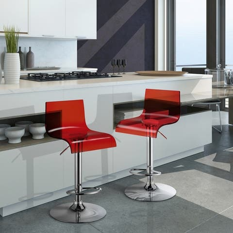 Furniture of America Wram Contemporary Chrome Bar Chairs (Set of 2)