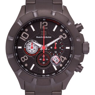 Buech and Boilat Men's Monument Black Stainless Steel Chronograph Watch