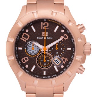 Buech and Boilat Men's Monument Rosetone Stainless Steel Chronograph Watch