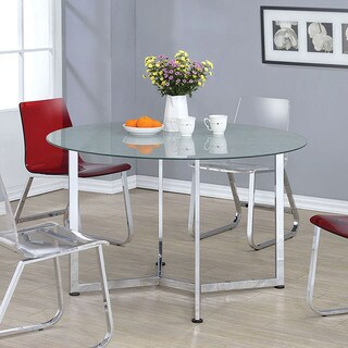 Furniture of America Miellis Contemporary Round Glass Top Dining Table - Silver