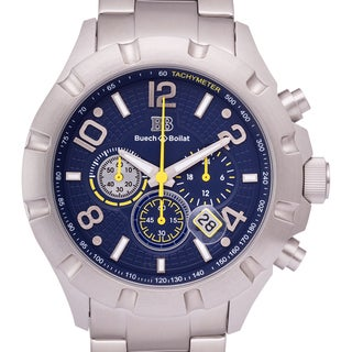 Buech and Boilat Men's Monument Stainless Steel Chronograph Watch