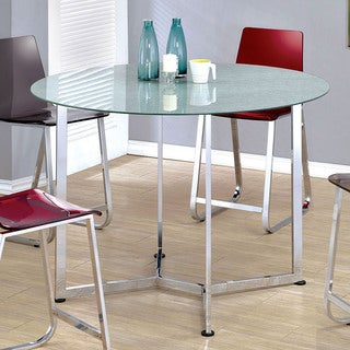Furniture of America Miellis Contemporary Round Glass Top Counter Height Dining Table - Silver