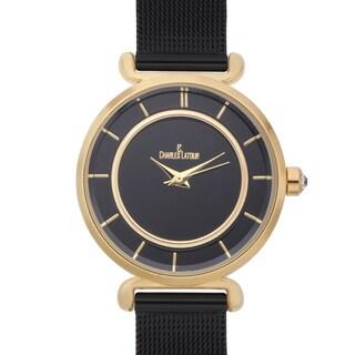 Charles Latour Women's Biro Pastel Dial Watch with Black Metal Mesh Strap
