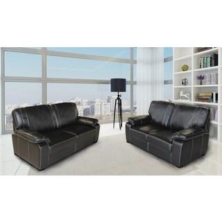 Owen Modern Air Leather Fabric 2-Piece Sofa & Loveseat Set