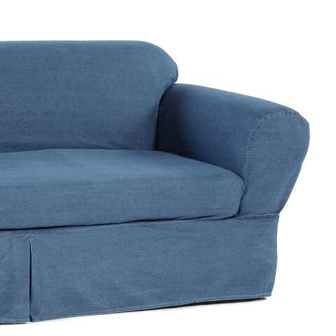 Washed Heavy Denim Cotton 2-Piece Sofa Slipocver