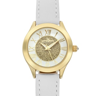 Charles Latour Women's Le Monde Crystal Crown Watch with White Leather Strap