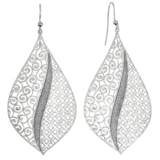 Isla Simone Spconcave Swirl and Square Etched Elliptical Earring