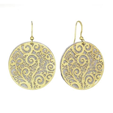 Isla Simone - Gold Tone Crystalized Bi-Level Paisley Earring